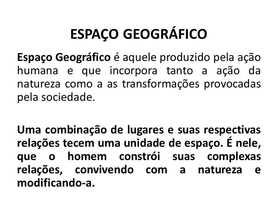 ESPAÇO GEOGRÁFICO Espaço Geográfico é aquele produzido pela ação humana e que incorpora tanto a ação da natureza como a as transformações provocadas p