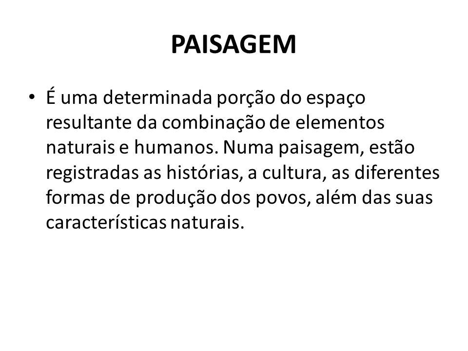 PAISAGEM É uma determinada porção do espaço resultante da combinação de elementos naturais e humanos. Numa paisagem, estão registradas as histórias, a