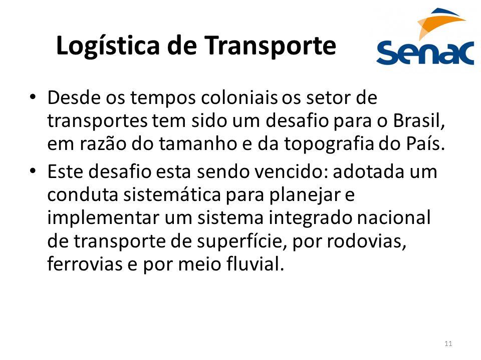 11 Logística de Transporte Desde os tempos coloniais os setor de transportes tem sido um desafio para o Brasil, em razão do tamanho e da topografia do