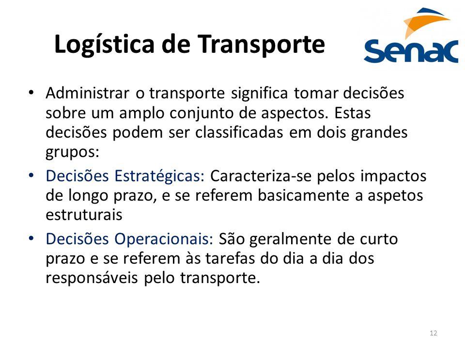 12 Logística de Transporte Administrar o transporte significa tomar decisões sobre um amplo conjunto de aspectos. Estas decisões podem ser classificad