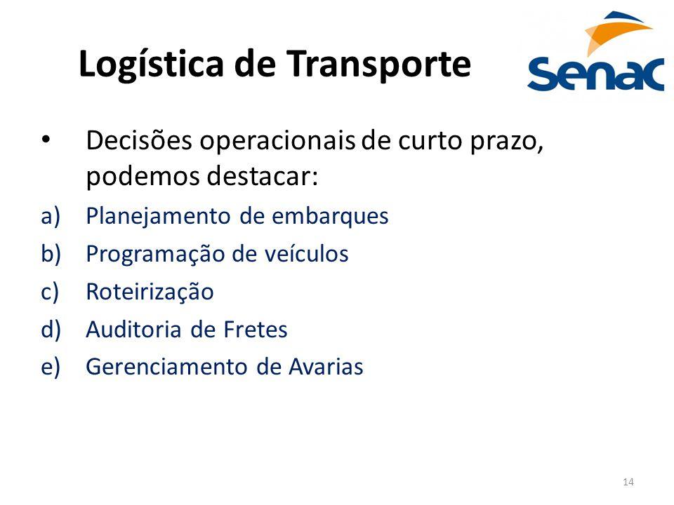 14 Logística de Transporte Decisões operacionais de curto prazo, podemos destacar: a)Planejamento de embarques b)Programação de veículos c)Roteirizaçã