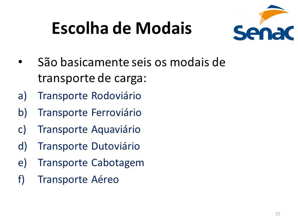 15 Escolha de Modais São basicamente seis os modais de transporte de carga: a)Transporte Rodoviário b)Transporte Ferroviário c)Transporte Aquaviário d