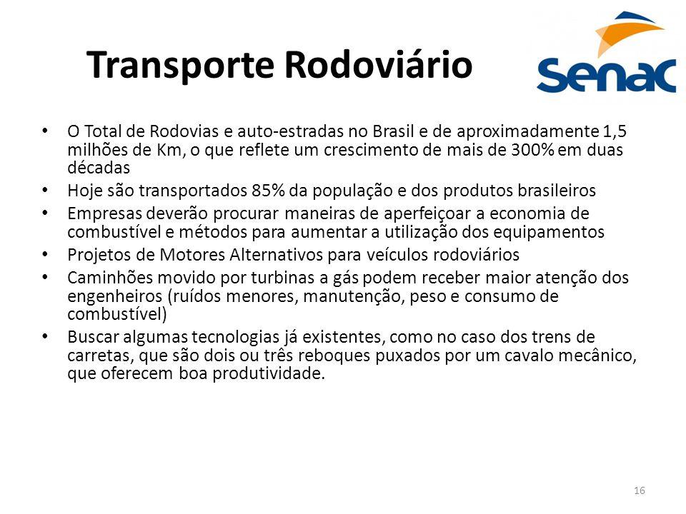 16 Transporte Rodoviário O Total de Rodovias e auto-estradas no Brasil e de aproximadamente 1,5 milhões de Km, o que reflete um crescimento de mais de