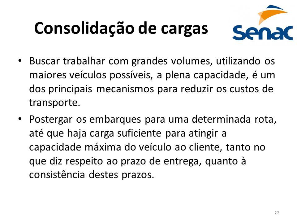 22 Consolidação de cargas Buscar trabalhar com grandes volumes, utilizando os maiores veículos possíveis, a plena capacidade, é um dos principais meca