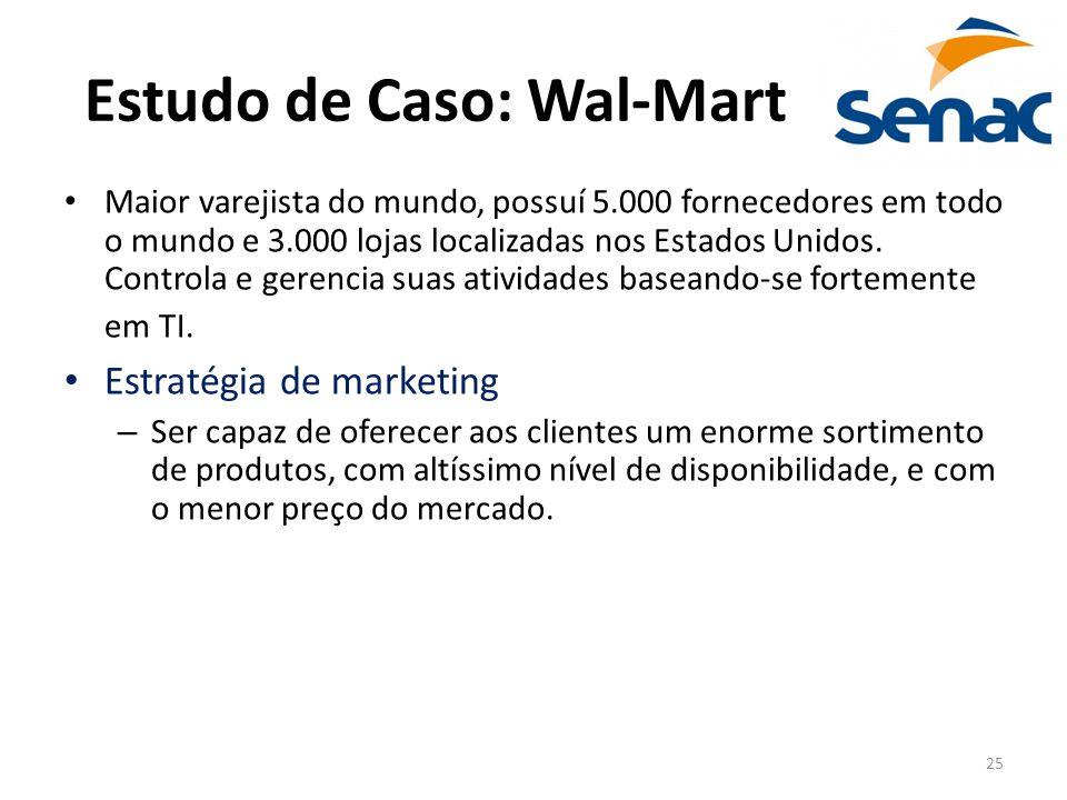 25 Estudo de Caso: Wal-Mart Maior varejista do mundo, possuí 5.000 fornecedores em todo o mundo e 3.000 lojas localizadas nos Estados Unidos. Controla