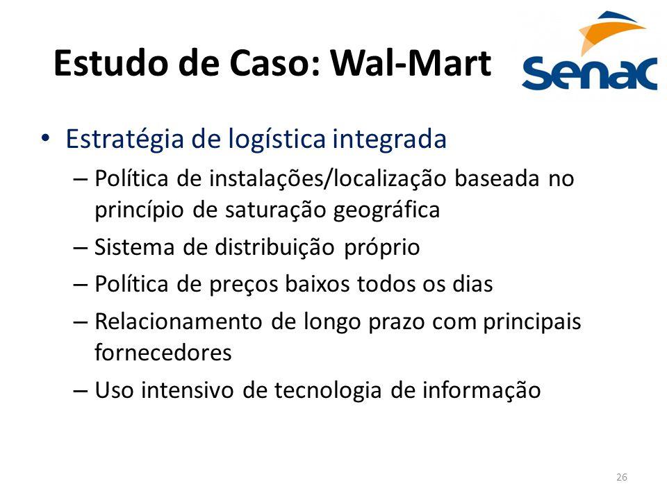 26 Estudo de Caso: Wal-Mart Estratégia de logística integrada – Política de instalações/localização baseada no princípio de saturação geográfica – Sis