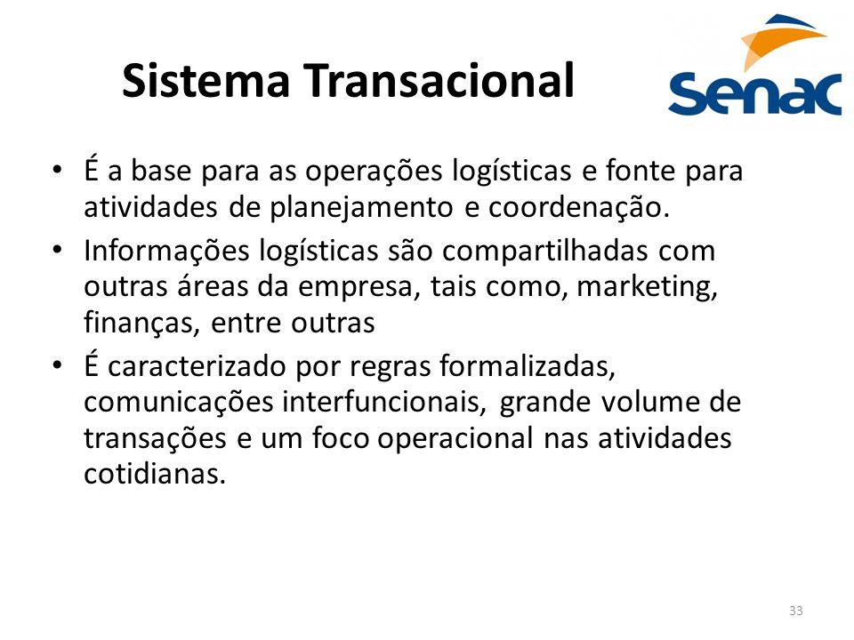 33 Sistema Transacional É a base para as operações logísticas e fonte para atividades de planejamento e coordenação. Informações logísticas são compar