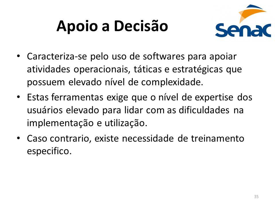 35 Apoio a Decisão Caracteriza-se pelo uso de softwares para apoiar atividades operacionais, táticas e estratégicas que possuem elevado nível de compl