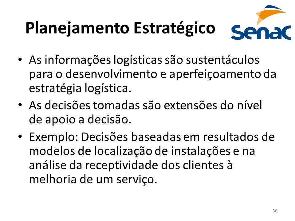 36 Planejamento Estratégico As informações logísticas são sustentáculos para o desenvolvimento e aperfeiçoamento da estratégia logística. As decisões