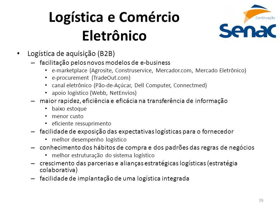 39 Logística e Comércio Eletrônico Logística de aquisição (B2B) – facilitação pelos novos modelos de e-business e-marketplace (Agrosite, Construservic