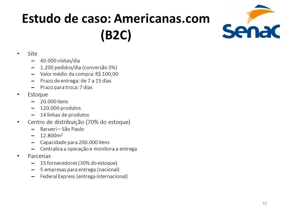 43 Estudo de caso: Americanas.com (B2C) Site – 40.000 visitas/dia – 1.200 pedidos/dia (conversão 3%) – Valor médio da compra: R$ 100,00 – Prazo de ent