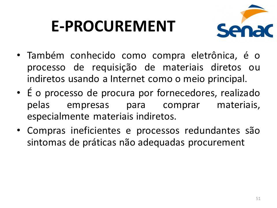 51 E-PROCUREMENT Também conhecido como compra eletrônica, é o processo de requisição de materiais diretos ou indiretos usando a Internet como o meio p
