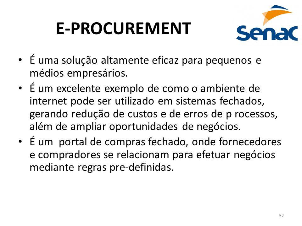 52 E-PROCUREMENT É uma solução altamente eficaz para pequenos e médios empresários. É um excelente exemplo de como o ambiente de internet pode ser uti