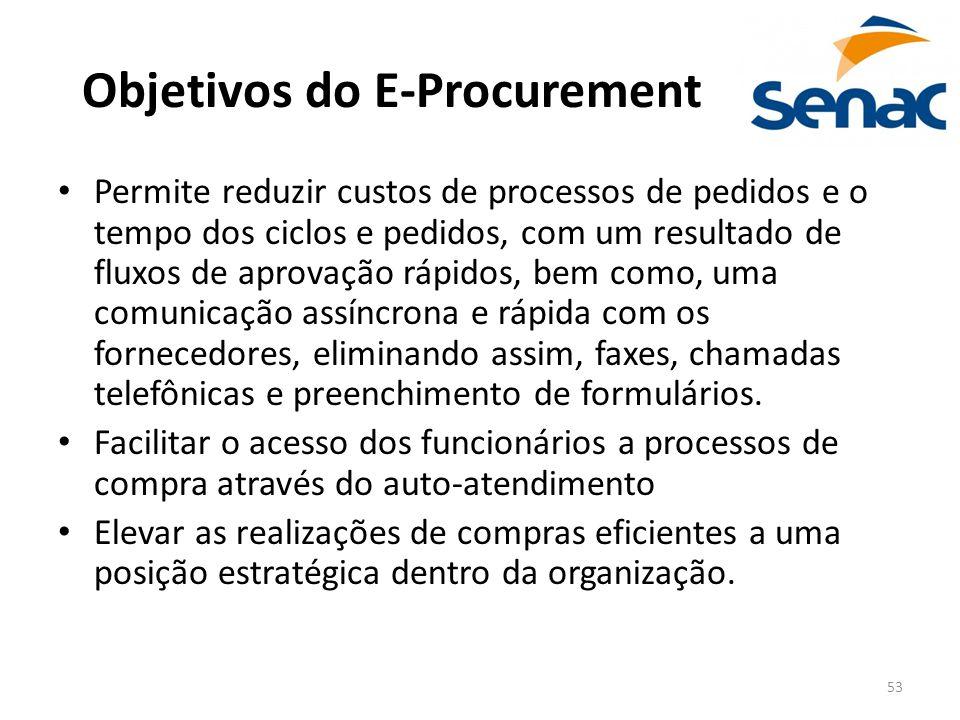 53 Objetivos do E-Procurement Permite reduzir custos de processos de pedidos e o tempo dos ciclos e pedidos, com um resultado de fluxos de aprovação r