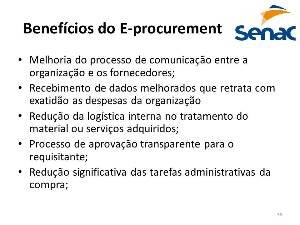 56 Benefícios do E-procurement Melhoria do processo de comunicação entre a organização e os fornecedores; Recebimento de dados melhorados que retrata