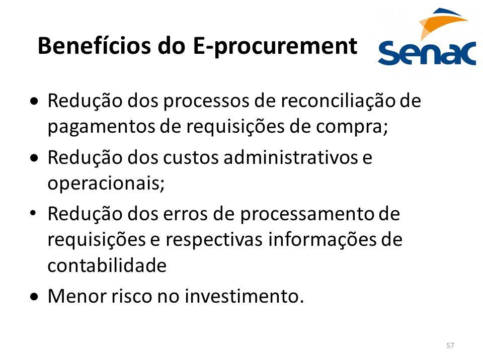 57 Benefícios do E-procurement  Redução dos processos de reconciliação de pagamentos de requisições de compra;  Redução dos custos administrativos e