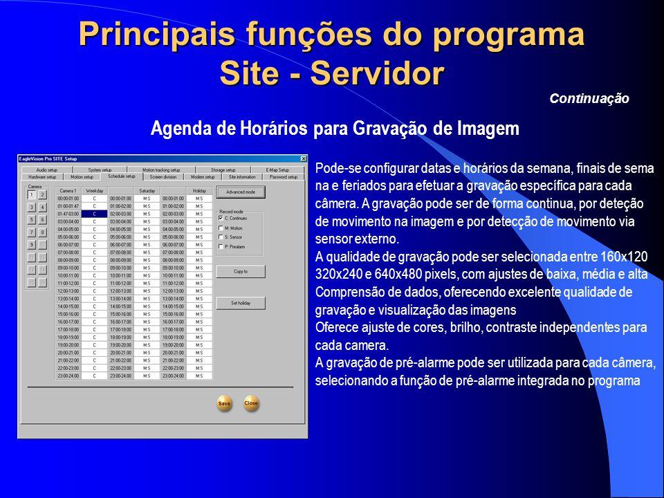 Principais funções do programa Site - Servidor Agenda de Horários para Gravação de Imagem Continuação Pode-se configurar datas e horários da semana, f
