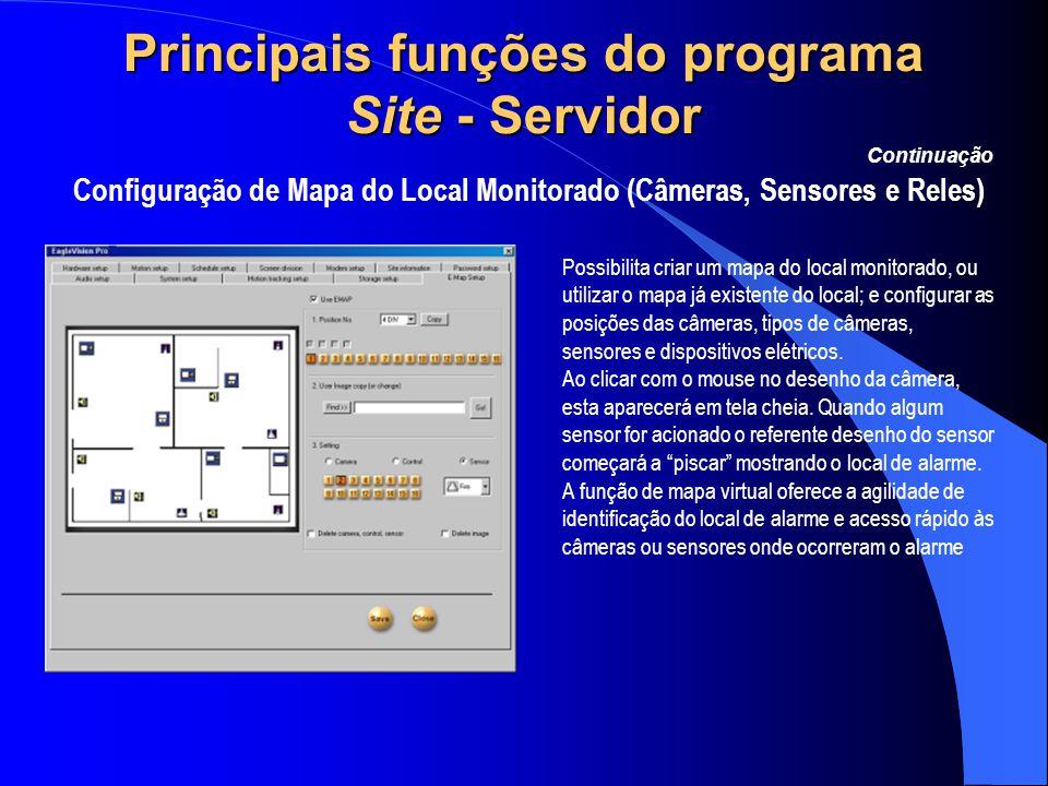 Principais funções do programa Site - Servidor Configuração de Mapa do Local Monitorado (Câmeras, Sensores e Reles) Continuação Possibilita criar um m