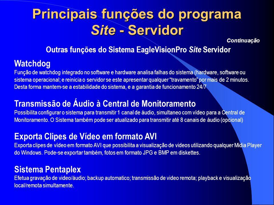 Principais funções do programa Site - Servidor Outras funções do Sistema EagleVisionPro Site Servidor Continuação Watchdog Função de watchdog integrad