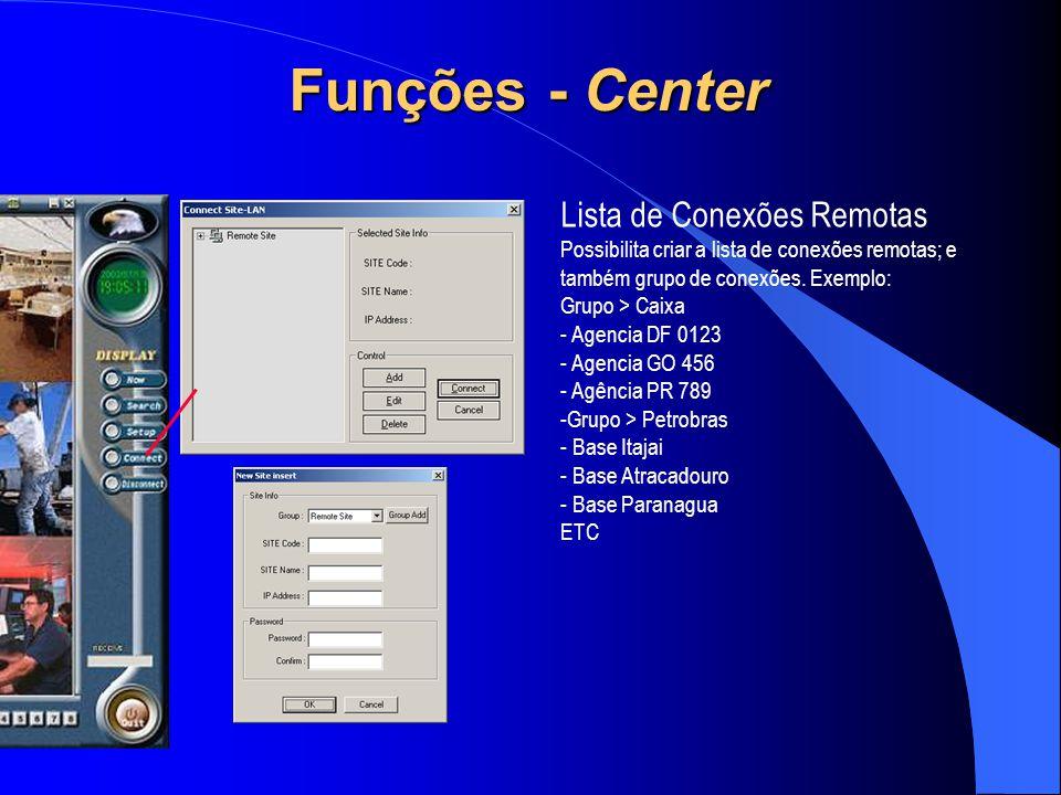 Lista de Conexões Remotas Possibilita criar a lista de conexões remotas; e também grupo de conexões. Exemplo: Grupo > Caixa - Agencia DF 0123 - Agenci