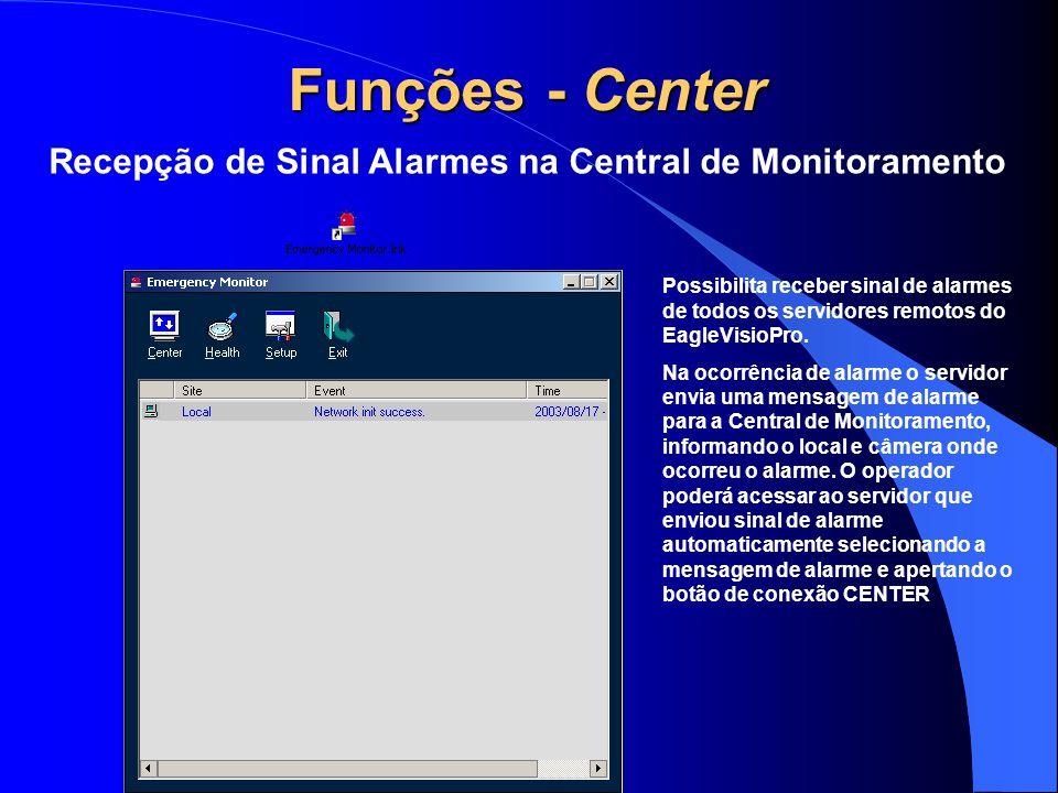 Funções - Center Recepção de Sinal Alarmes na Central de Monitoramento Possibilita receber sinal de alarmes de todos os servidores remotos do EagleVis