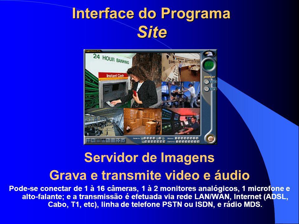 Interface do Programa Site Servidor de Imagens Grava e transmite video e áudio Pode-se conectar de 1 à 16 câmeras, 1 à 2 monitores analógicos, 1 micro