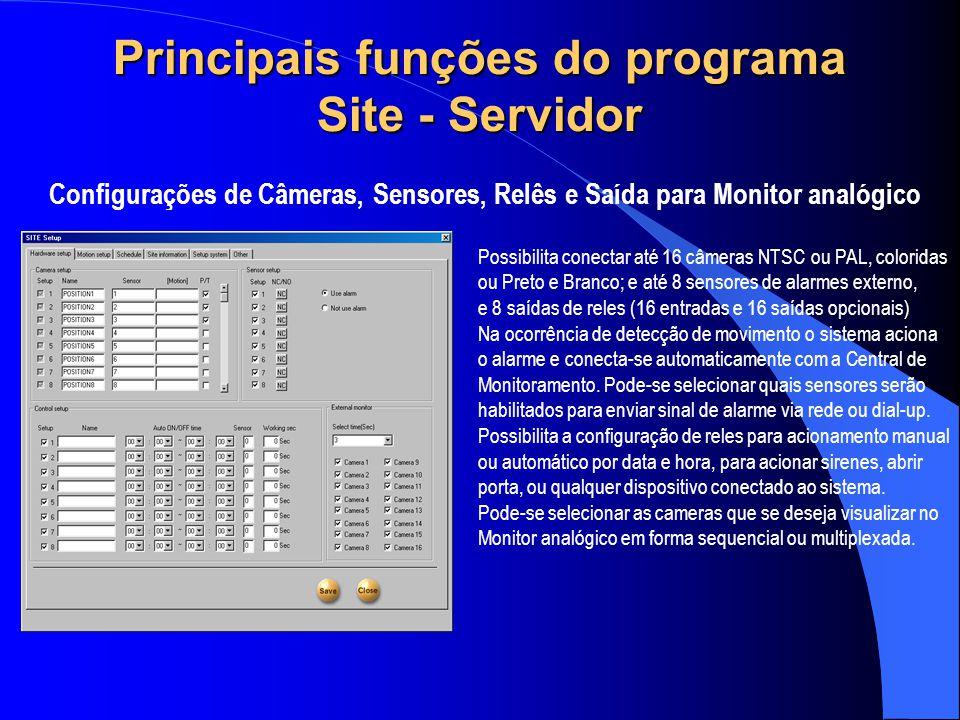 Principais funções do programa Site - Servidor Configurações de Câmeras, Sensores, Relês e Saída para Monitor analógico Possibilita conectar até 16 câ