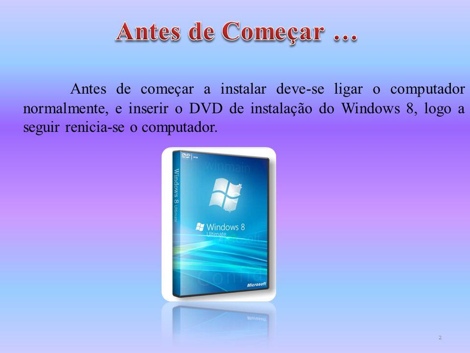 Assim que se inicia o processo de instalação irá ter acesso ao ecrã de configuração do Windows 8.
