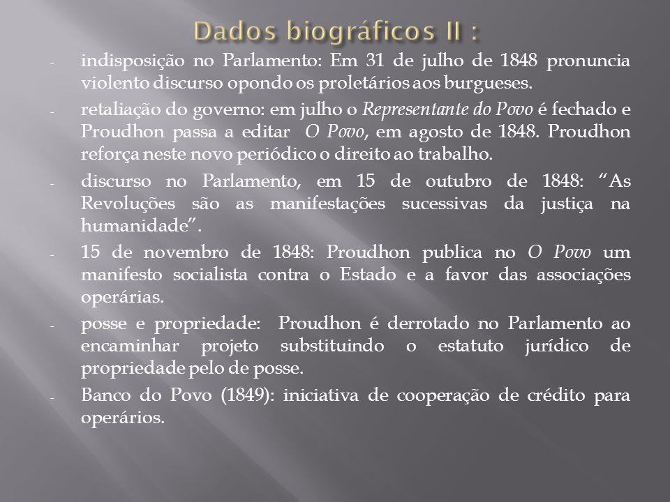- 28 de março de 1849: Proudhon é condenado a 3 anos de reclusão e 3 mil francos de multa por injúrias publicadas, em O Povo, contra o presidente Luís Bonaparte.