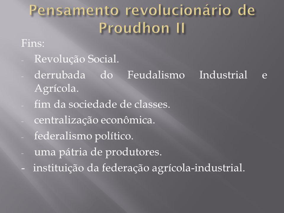 Fins: - Revolução Social. - derrubada do Feudalismo Industrial e Agrícola.