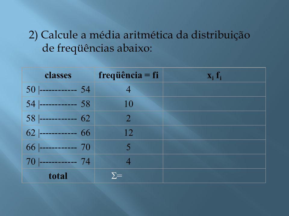 2) Calcule a média aritmética da distribuição de freqüências abaixo: classesfreqüência = fix i f i 50 |------------ 544 54 |------------ 5810 58 |------------ 622 62 |------------ 6612 66 |------------ 705 70 |------------ 744 total ==