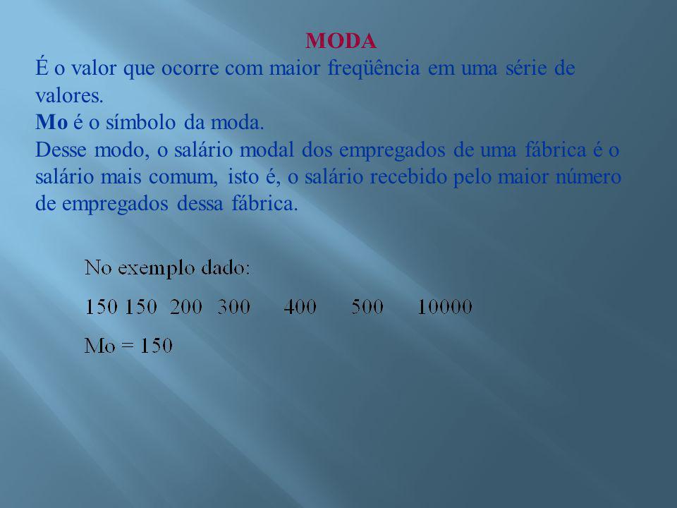 MODA É o valor que ocorre com maior freqüência em uma série de valores.
