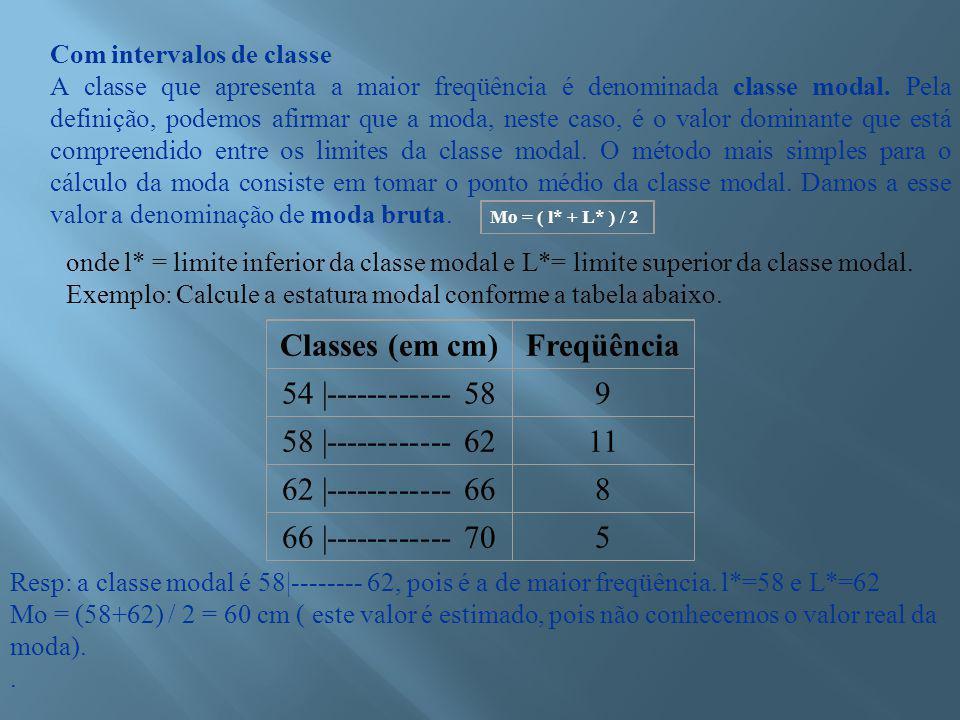 Com intervalos de classe A classe que apresenta a maior freqüência é denominada classe modal.