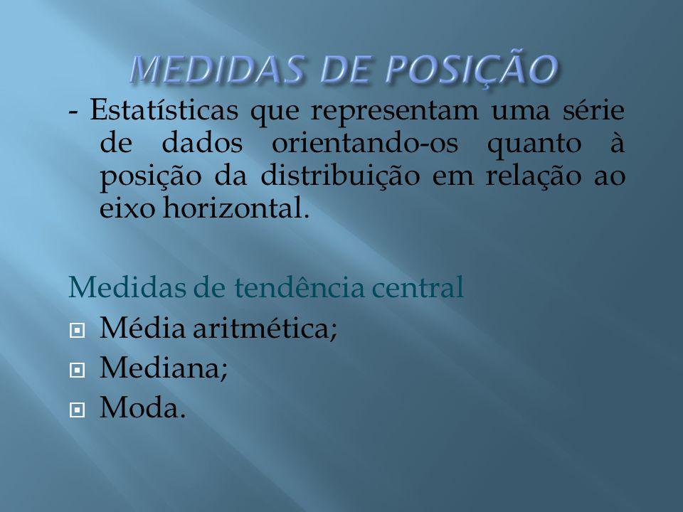 Medidas de Tendência Central Média: A soma de todos os valores dividida pelo número de valores.