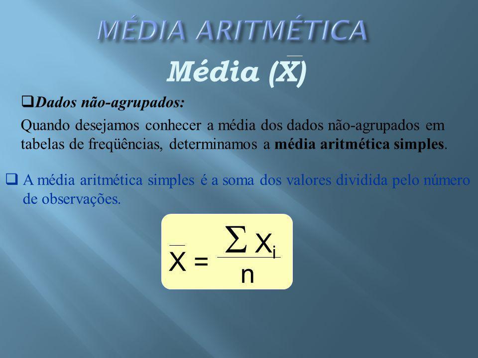 Média (X)  Dados não-agrupados: Quando desejamos conhecer a média dos dados não-agrupados em tabelas de freqüências, determinamos a média aritmética simples.