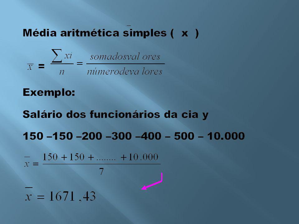 2) Calcule a moda da distribuição de freqüências abaixo: classesfreqüência = fix i f i 50  ------------ 544 54  ------------ 5810 58  ------------ 622 62  ------------ 6612 66  ------------ 705 70  ------------ 744 total ==