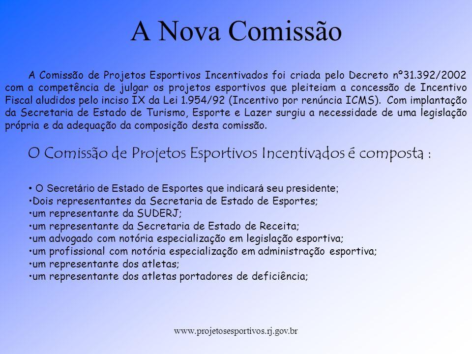 www.projetosesportivos.rj.gov.br A Comissão de Projetos Esportivos Incentivados foi criada pelo Decreto nº31.392/2002 com a competência de julgar os p