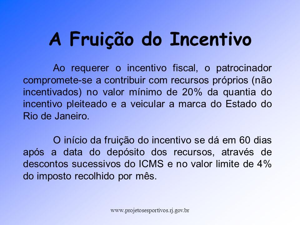 www.projetosesportivos.rj.gov.br Ao requerer o incentivo fiscal, o patrocinador compromete-se a contribuir com recursos próprios (não incentivados) no