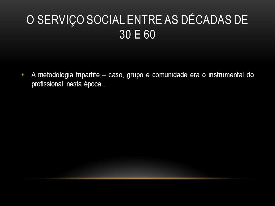 O SERVIÇO SOCIAL ENTRE AS DÉCADAS DE 30 E 60 A metodologia tripartite – caso, grupo e comunidade era o instrumental do profissional nesta época.