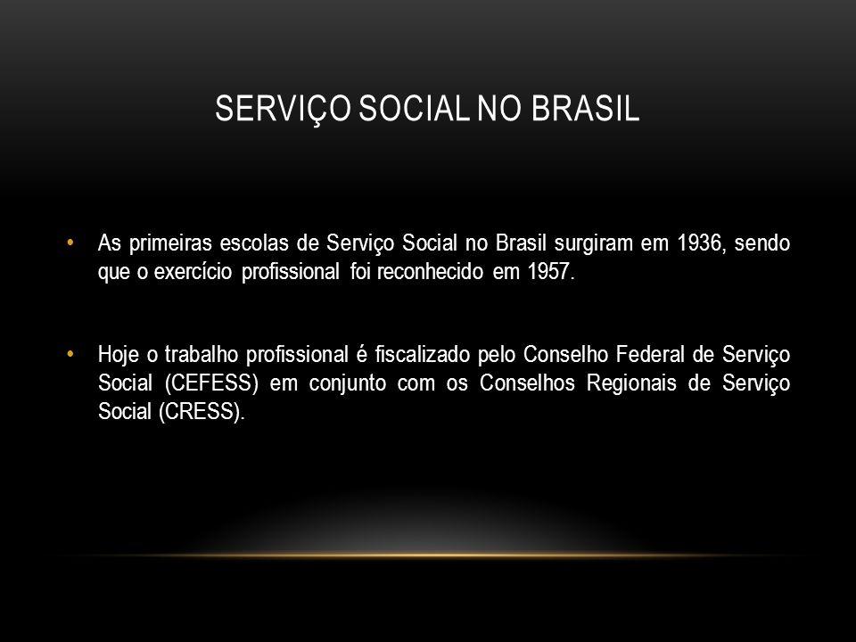 SERVIÇO SOCIAL NO BRASIL As primeiras escolas de Serviço Social no Brasil surgiram em 1936, sendo que o exercício profissional foi reconhecido em 1957