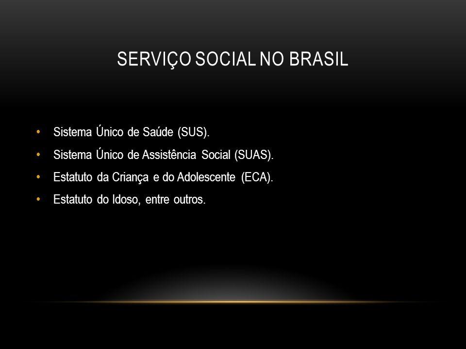 SERVIÇO SOCIAL NO BRASIL Sistema Único de Saúde (SUS). Sistema Único de Assistência Social (SUAS). Estatuto da Criança e do Adolescente (ECA). Estatut