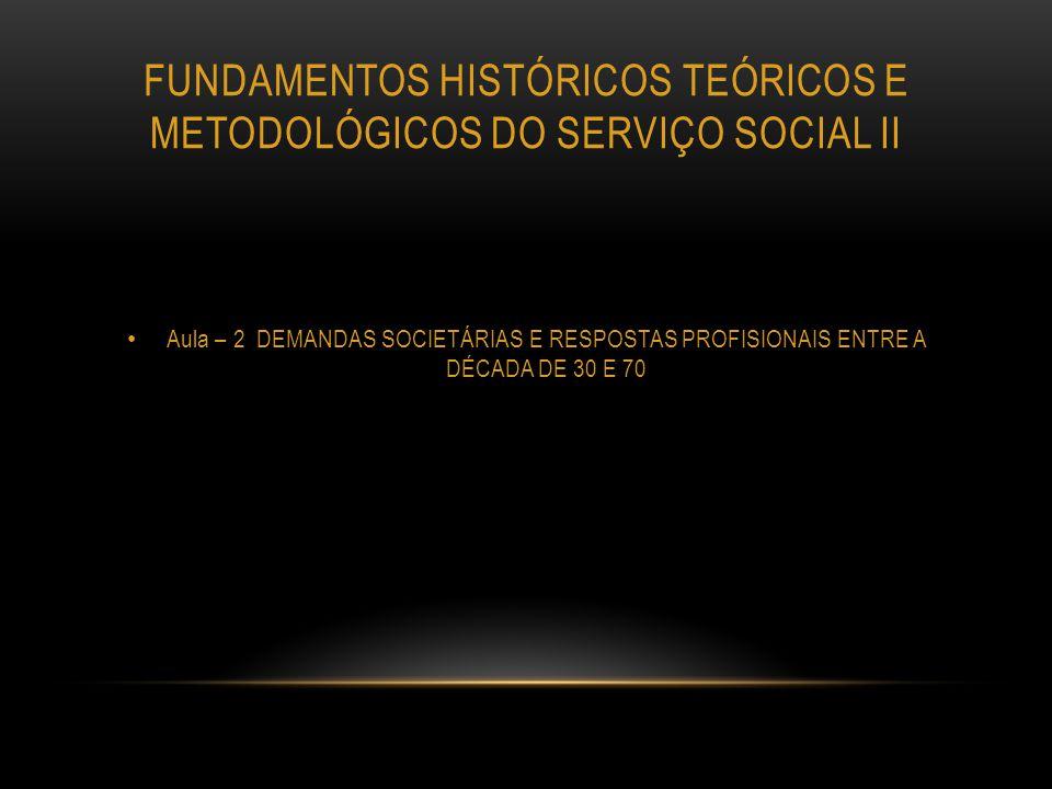 OBJETIVO Conhecer o Serviço Social como profissão no contexto de aprofundamento do capitalismo na sociedade brasileira durante o período de1930 a 1960.