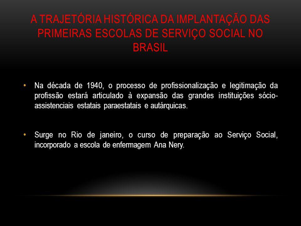 A TRAJETÓRIA HISTÓRICA DA IMPLANTAÇÃO DAS PRIMEIRAS ESCOLAS DE SERVIÇO SOCIAL NO BRASIL Na década de 1940, o processo de profissionalização e legitima