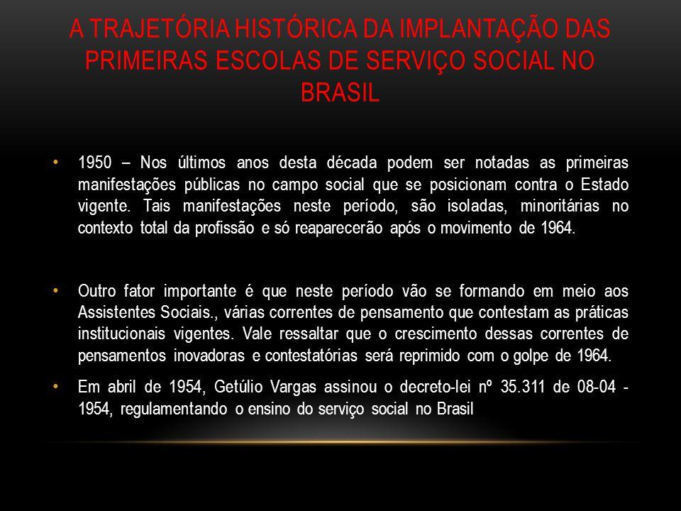 A TRAJETÓRIA HISTÓRICA DA IMPLANTAÇÃO DAS PRIMEIRAS ESCOLAS DE SERVIÇO SOCIAL NO BRASIL 1950 – Nos últimos anos desta década podem ser notadas as prim