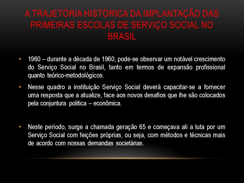 A TRAJETÓRIA HISTÓRICA DA IMPLANTAÇÃO DAS PRIMEIRAS ESCOLAS DE SERVIÇO SOCIAL NO BRASIL 1960 – durante a década de 1960, pode-se observar um notável c