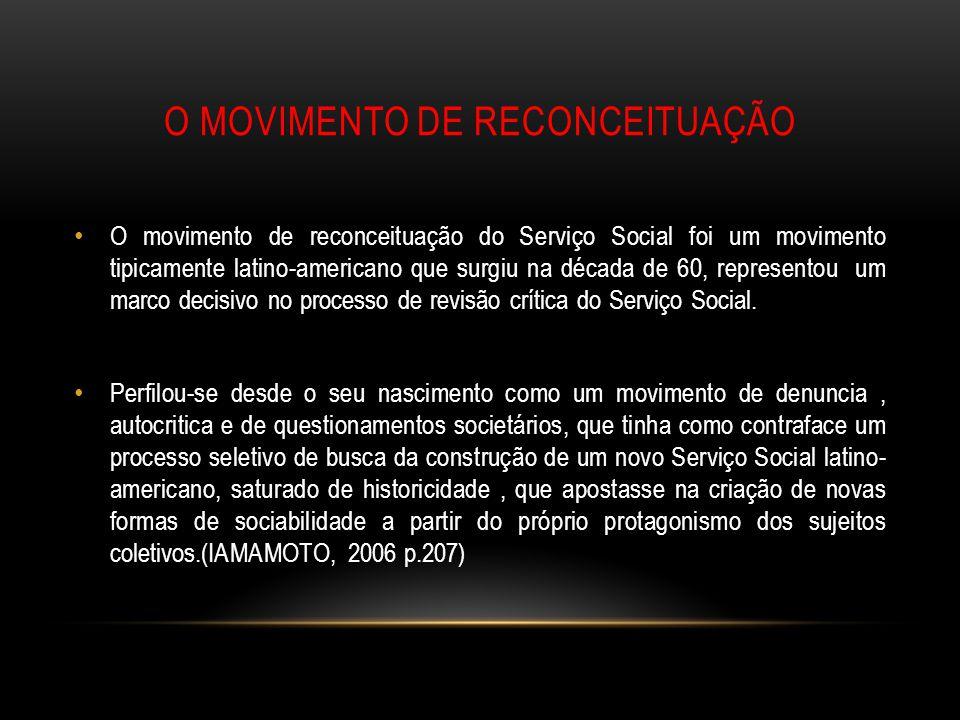 O MOVIMENTO DE RECONCEITUAÇÃO O movimento de reconceituação do Serviço Social foi um movimento tipicamente latino-americano que surgiu na década de 60