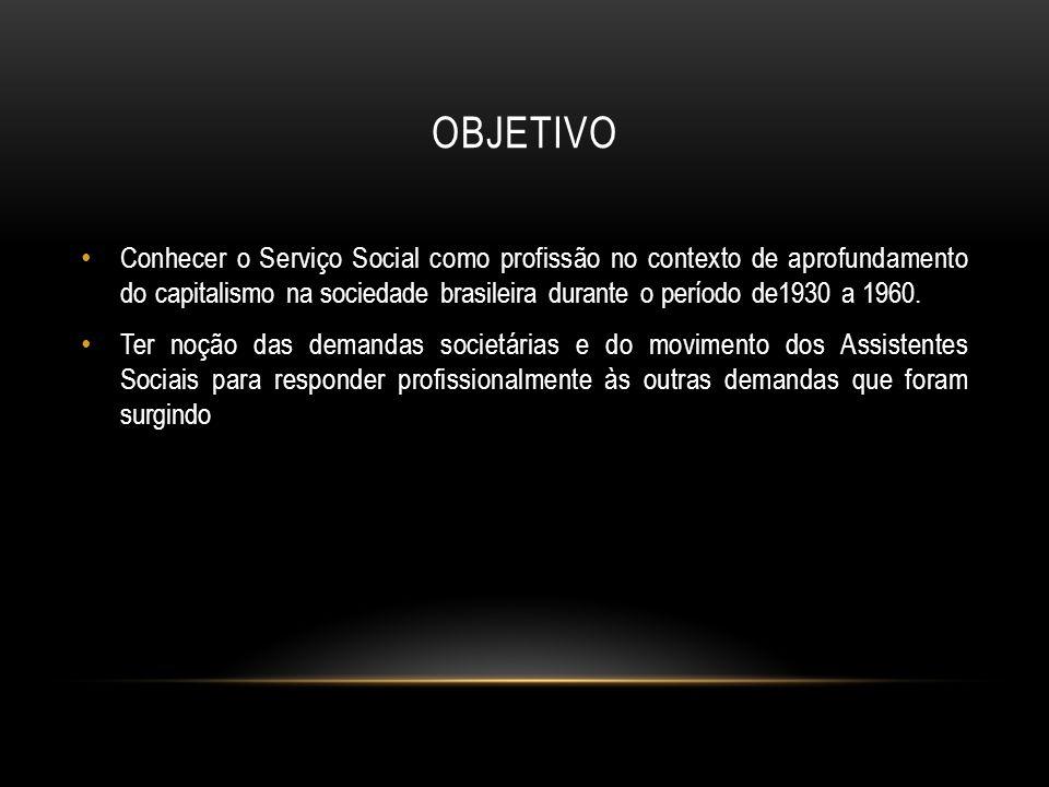 OBJETIVO Conhecer o Serviço Social como profissão no contexto de aprofundamento do capitalismo na sociedade brasileira durante o período de1930 a 1960