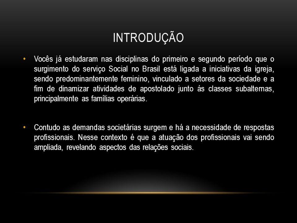 INTRODUÇÃO Vocês já estudaram nas disciplinas do primeiro e segundo período que o surgimento do serviço Social no Brasil está ligada a iniciativas da