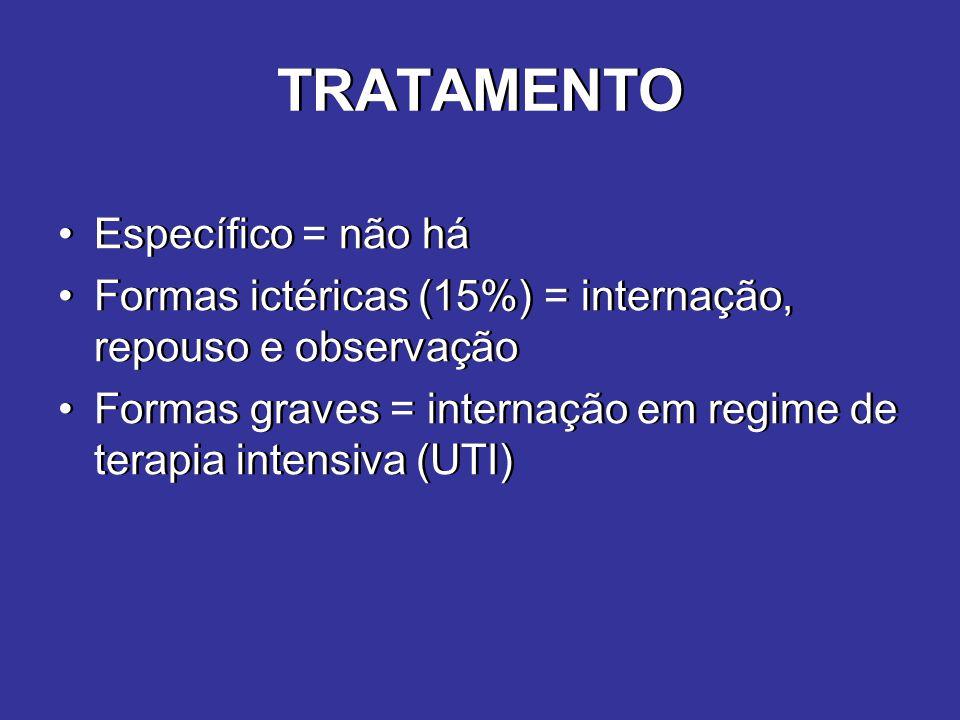 TRATAMENTO Específico = não há Formas ictéricas (15%) = internação, repouso e observação Formas graves = internação em regime de terapia intensiva (UT