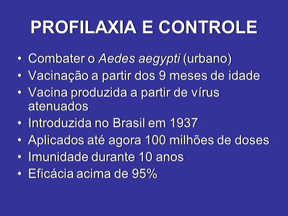 PROFILAXIA E CONTROLE Combater o Aedes aegypti (urbano) Vacinação a partir dos 9 meses de idade Vacina produzida a partir de vírus atenuados Introduzi